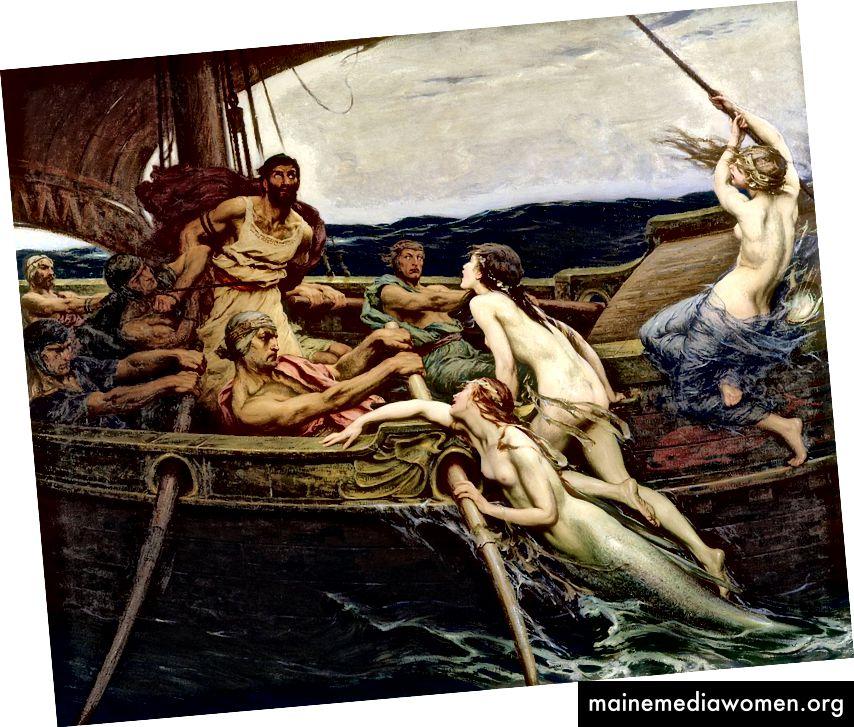 Odysseus an den Mast gebunden: der einzige Weg, den Sirenen zu widerstehen