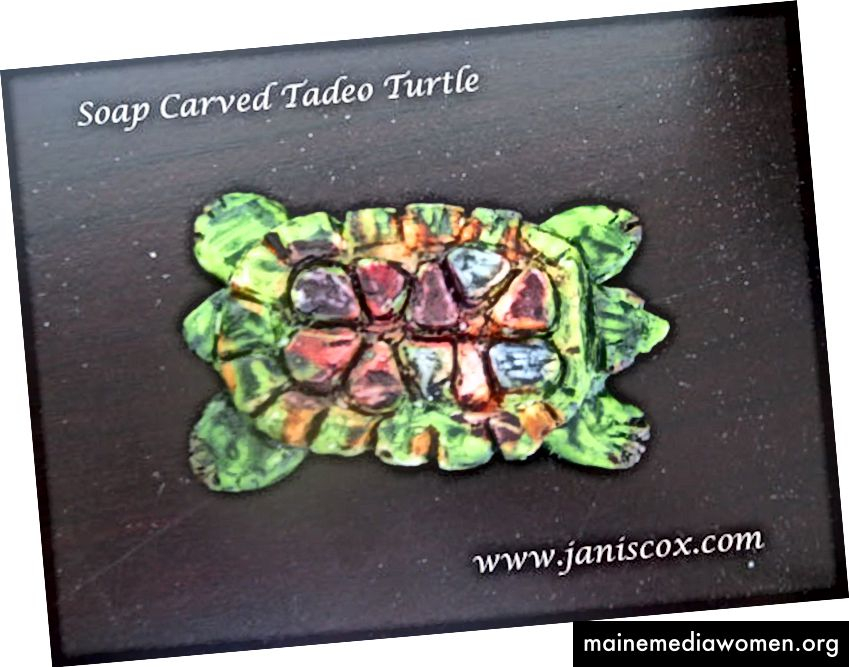 Mýdlová želva vyřezaná Janisem Coxem