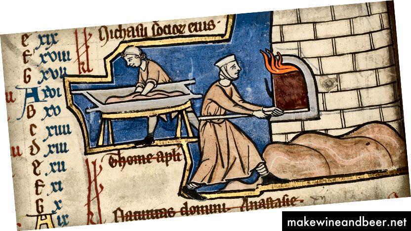 نان ساز بر روی میناکاری از قرن 13th. (با احترام از موزه J. پاول گتی ، لس آنجلس)