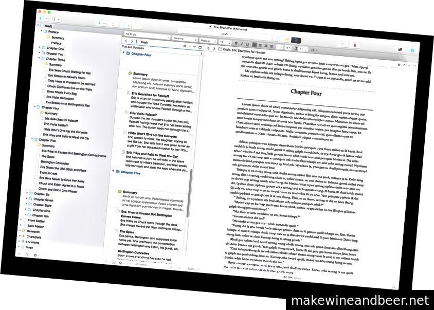 نمایش Scrivener 3 با زمینه ناوبری ، ساختار و ویرایشگر. تصویر: ادبیات و لاته.