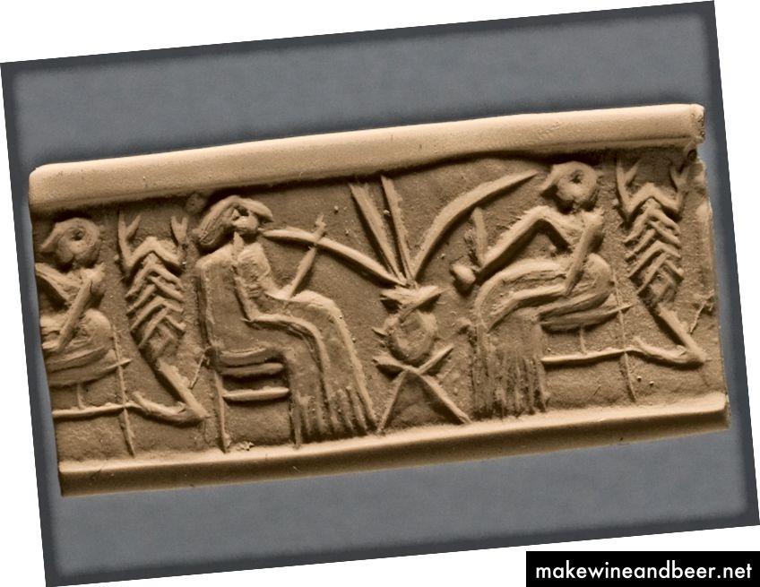 نورد مدرن مهر و موم های استوانه ای (سلسله اولیه ، حدود 2600-2350 پیش از میلاد ، خوفاجه ، عراق) مصرف آبجو را از طریق نی های طولانی نشان می دهد. توجه داشته باشید که مصرف آبجو نه تنها در مصر باستان رایج بود (به متن مراجعه کنید) ، بلکه در بین النهرین و در بین هیتی ها نیز در ترکیه امروزی وجود دارد (حسن نیت ارائه دهنده موسسه شرقی دانشگاه شیکاگو). منبع