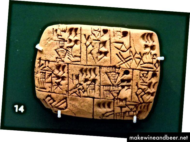Mezopotāmiešiem katru dienu tika izsniegtas miežu alus devas, viņu gatavotais dzēriens. Šis ir fotoattēls ar Mesopotāmijas alus devas tableti no Britu muzeja Londonā.