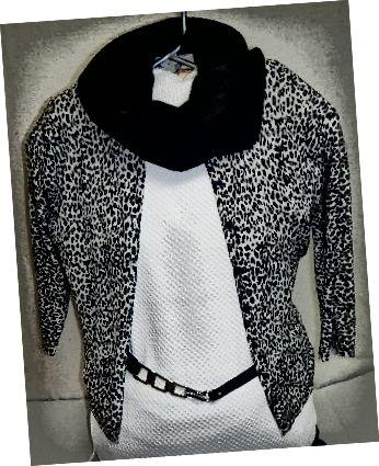 Білий топ-5 доларів міжсезонний продаж, светр з леопардовим принтом 3,55 долара в магазині ощадливості, ремінь в розмірі 1,25 долара, шарф з лійкою 2,50 долара. Загальний наряд? $ 12,32!