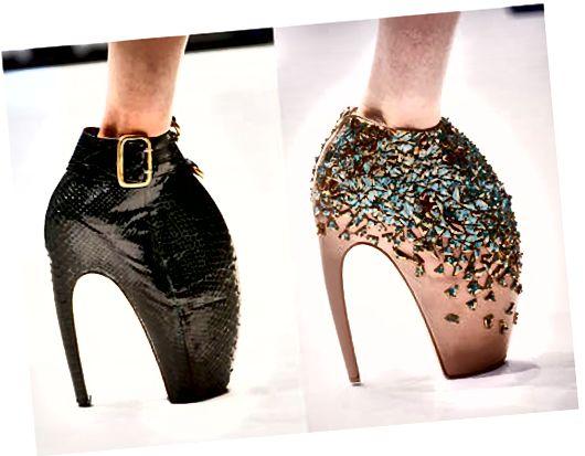 Het is mogelijk om verder te gaan en meer stukjes uit de schoenen te knippen met ongemakkelijke geometrische vormen.