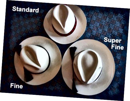 Διάφορα υφάσματα για καπέλα του Παναμά.