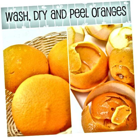 संतरे को धो लें और सबसे ऊपर के भाग को छील लें। जितना संभव हो सफेद भाग से बचने की कोशिश करें। इसके लिए, सुनिश्चित करें कि आप एक तेज चाकू का उपयोग करें।