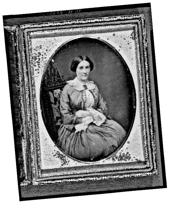 सिविल वार युग महिला फीता कफ और कॉलर पहने हुए