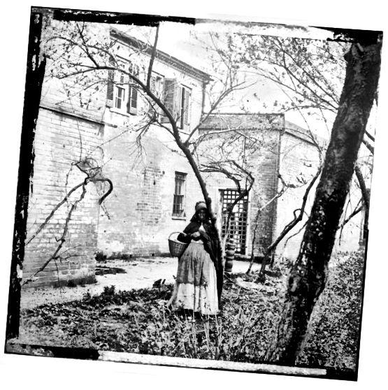 बोनट और एप्रन पहने गुलाम