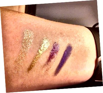 Злева направа: Amber Rush L'Oreal, Bold Gold of Maybelline, L'Oreal's Burst in Bloom і Painted Purple ў Maybelline