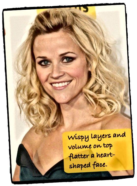 Slavná tvář ve tvaru srdce Reese Witherspoon vypadá úžasně s kudrnatými kadeřemi, které vytvářejí objem a zvlnění, nikoli dovnitř.