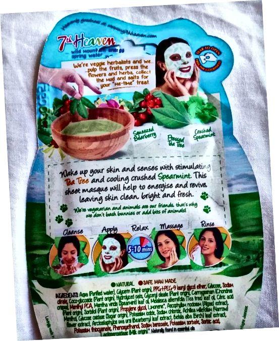 Pokyny na zadní straně obličejové masky listů 7. nebeského čaje.