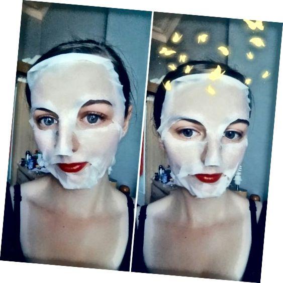 Maska na obličej 7 listů nebeského čaje používaná na mé tváři.