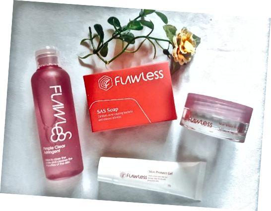 D'Inhalter vum Flawless Akne Kontroll Kit vun Flawless Face and Body Clinic