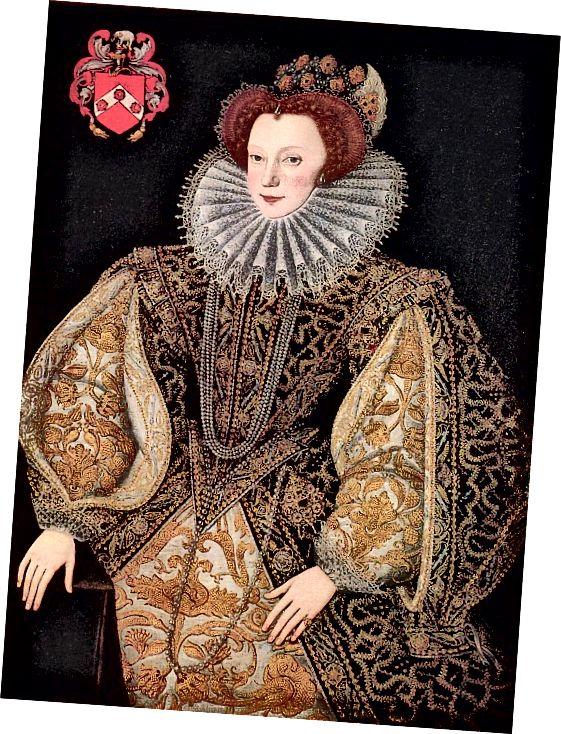 Kostým Elizabethan - životopis ve tvaru písmene V, límec a sukně se shodnými rukávy