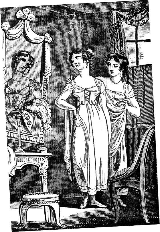 Мода плаття імперії, короткочасне перебування Regency близько 1810 року.