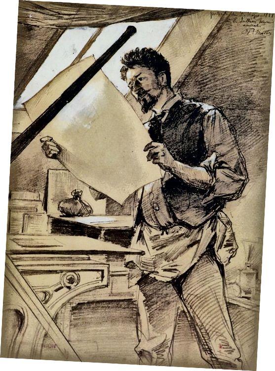 1888 - مردی که در محل کار است جلیقه دارد.