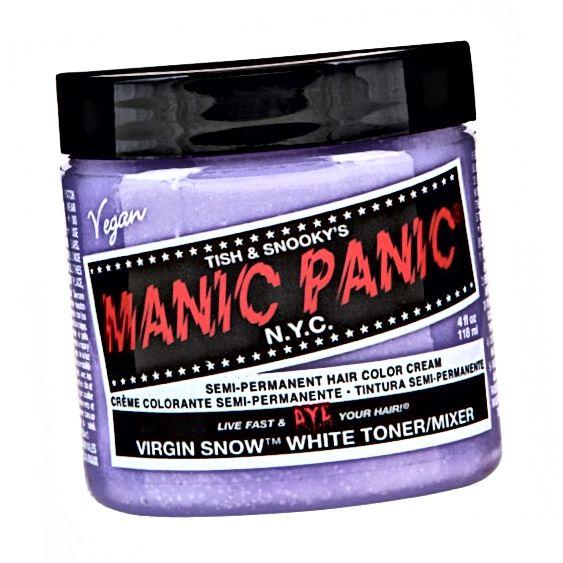 Tonic برف ویرجین Manic Panic: یک رنگ بنفش ضعیف برای خنثی کردن تن های نارنجی در مو. صرفه جویی در هزینه و ایجاد همان اثر با مخلوط کردن رنگ بنفش با نرم کننده سفید برای ایجاد یک رنگ بنفش بسیار سبک است.