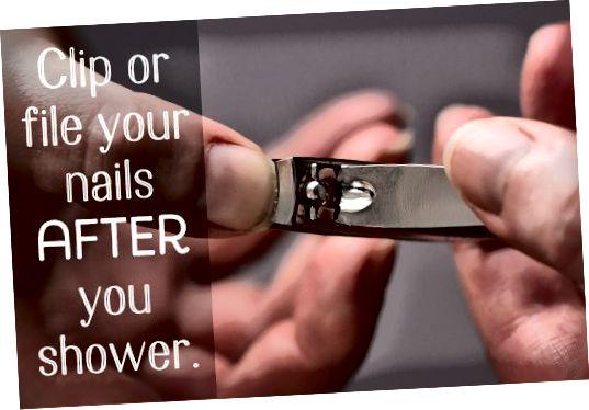 Избегавајте шишање ноктију када су суви. Осетите их након туширања како бисте избегли подељење.