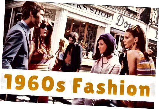 Mezi příklady ikonické módy šedesátých let patří styly, které nosí mladí lidé v londýnské Carnaby Street.
