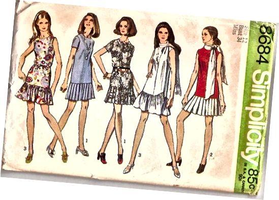 Vratne obleke mini krila s kratkimi pasi iz 70. let