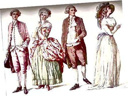 مد آمریکایی ، دهه 1780. L. کت و شلوار به سبک فرانسوی؛ LC لباس به سبک فرانسوی؛ RC و کت و شلوار R.