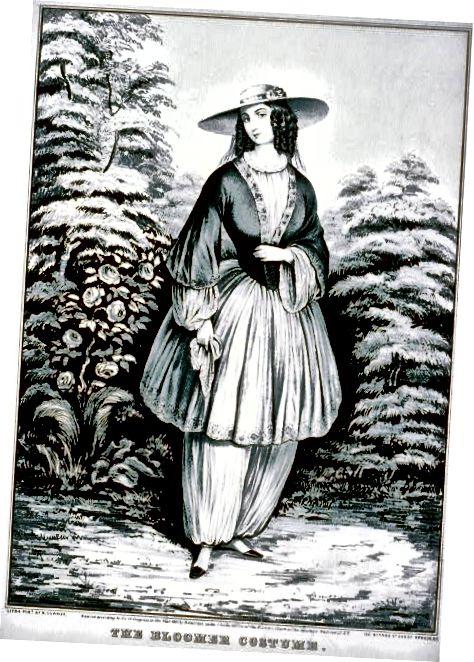 Κινούμενα σχέδια μιας γυναίκας που φοράει το κοστούμι Bloomer, το όνομά της από την Amelia Bloomer.