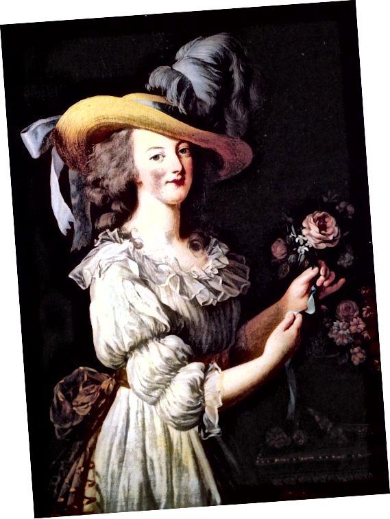 Η Μαρία Αντουανέτα, γύρω στο 1786, σε ένα νυφικό ποιμενικού στιλ μουσελίνας