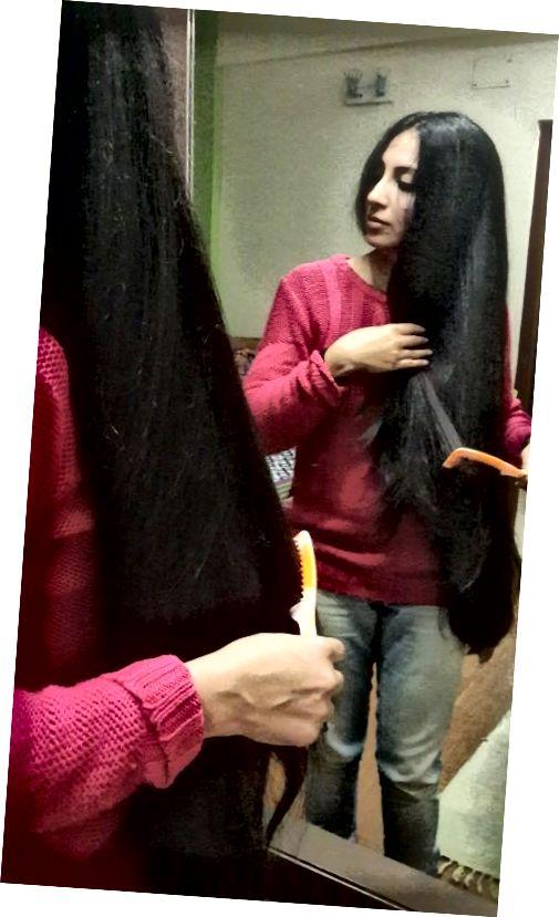 من تصویری از موهای خودم استفاده کرده ام تا نتایج استفاده از این روغن مو را از کودکی به شما نشان دهم.