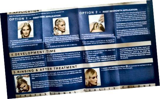 Pokyny dodané s odborníkem na barvu vlasů Schwarzkopf Omegaplex Dye, Lightener L9 Plus