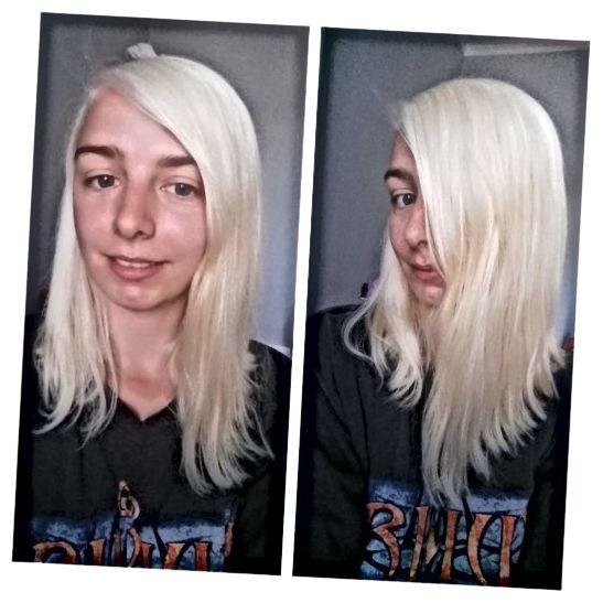 Moje vlasy po druhém bělení s odborníkem na barvu vlasů Schwarzkopf Omegaplex Dye, Lightener L9 Plus