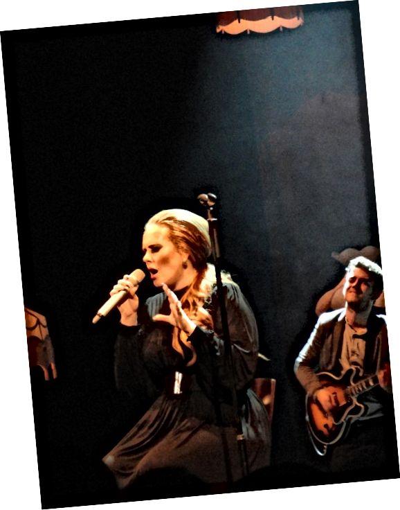 Adele, žena velikosti plus, nosí lichotivé šaty.