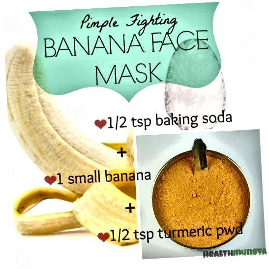 Ta enostavna maska za obraz iz banan uporablja kurkumo in sodo bikarbono, da vam pomaga sijočo kožo in zmanjša mozolje in madeže. Z rednim nanosom ostanite brez aken.