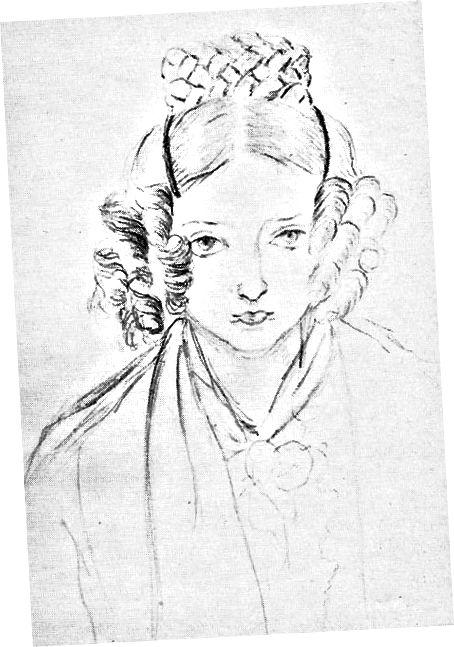 Прынцэса Вікторыя Кентская, спартовыя кучары ў эцюдзе аўтапартрэта з лістапада 1845 года