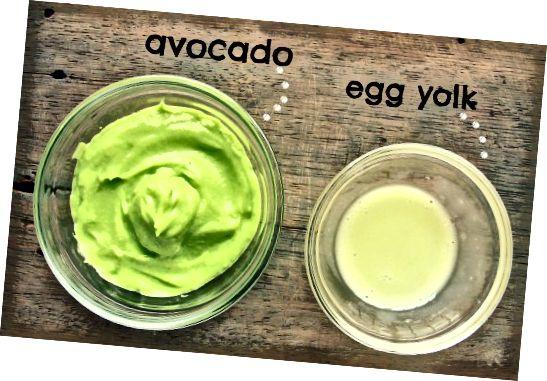 Збийте авокадо, збийте яєчний жовток і змішайте два, щоб зробити маску для волосся.