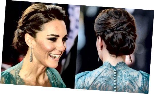 Η Κέιτ δένει τα μαλλιά της σε ένα υπέροχο κουλούρι Chignon. Οι πλευρές του λαιμού της κοσμούνται από ασημένια σκουλαρίκια σε σχήμα δακρύων. Τα φρύδια της φούσκας, η μάσκαρα, η απόχρωση της λάμψης και το γυμνό χρώμα των χειλιών της δίνουν μια πολύ φυσική εμφάνιση.