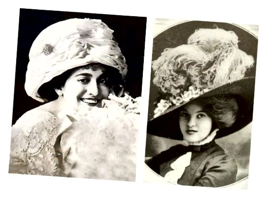 در زمان ادواردیان ، کلاه های پهن و پهن ظاهر Merry Widow با مدل های pompadour کار می کردند و دامن های کامل تر را متعادل می کردند. کلاه های کتانی سبک تر تابستان نشان دهنده جامعه طبقه بالا بود.