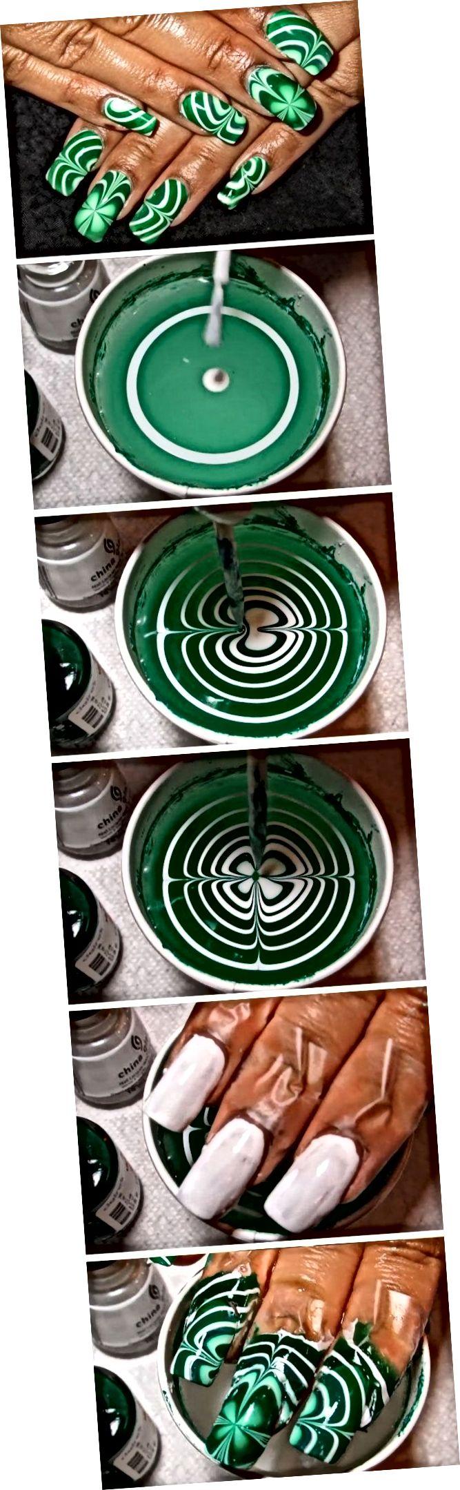 Waasser Marmer Shamrocks | Einfach St Patricks Day Nail Designs