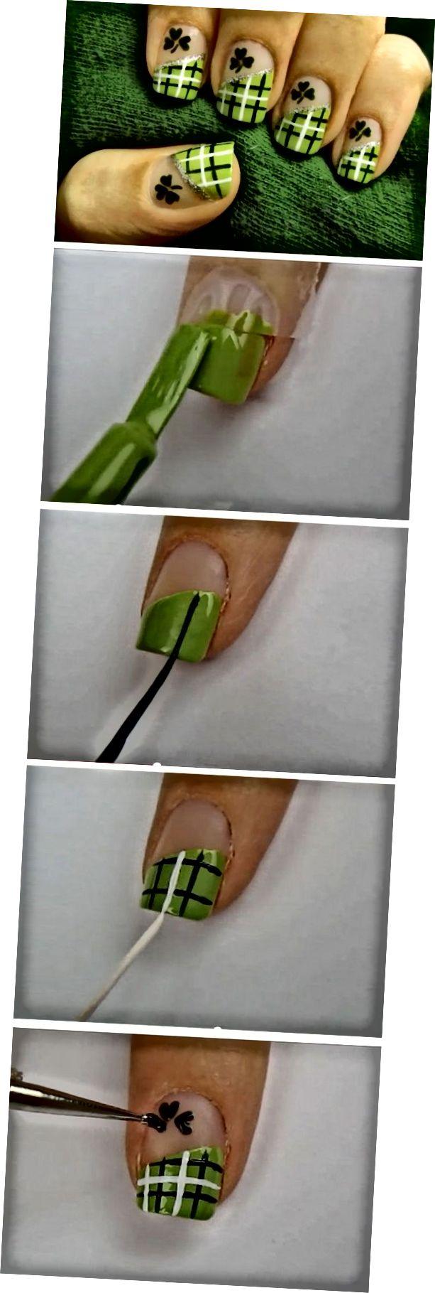 Lucky Green Plaid | Einfach St Patricks Day Nail Designs