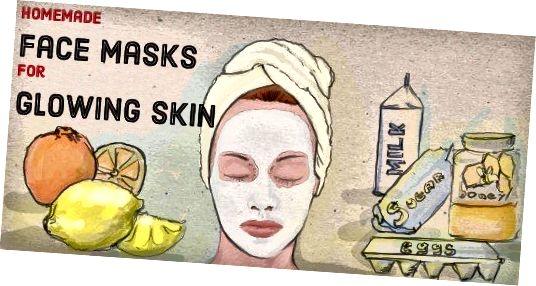 Zelfgemaakte gezichtsmaskerremedies voor een stralende huid.
