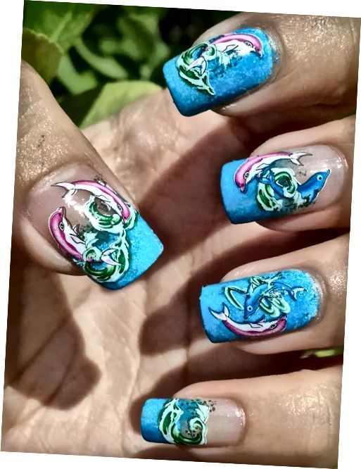 Dolphin Water Decal Nail Art
