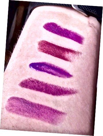 위에서 아래로 : Vibrant Violet, Ravin 'Raisin, Vision in Violet, Matte Glam, Vixen Violet