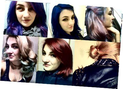 Kouzelná cesta barvy vlasů - od šedozelené přes tyrkysovou, modrou, fialovou, růžovou a červenou.