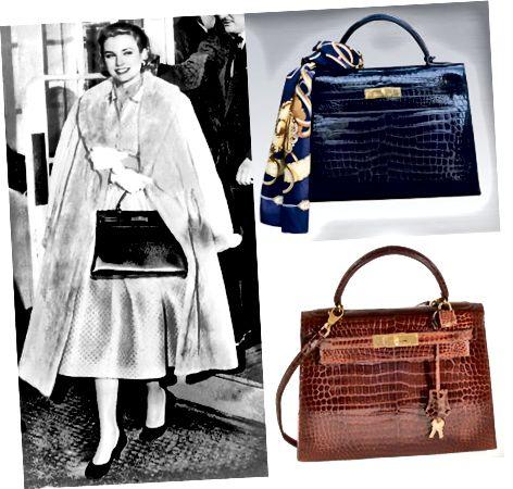گریس کلی با کیف دستی هرمس که به افتخار او نامگذاری شده است