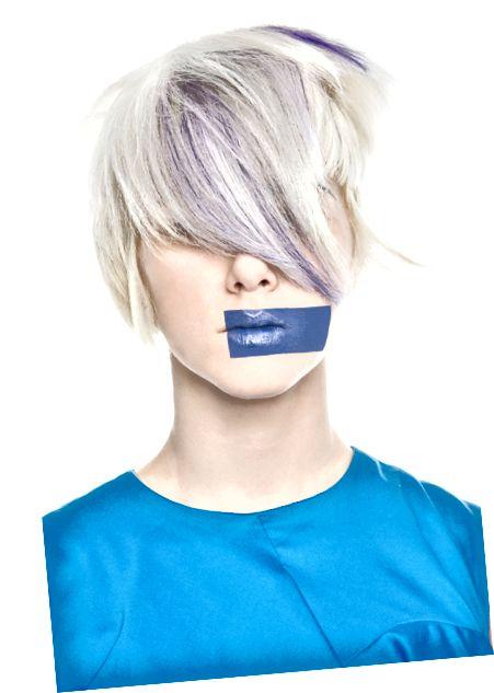 بندهای آبی خاموش نرم ، ظاهری جالب به موهای بلوند پلاتینی اضافه می کنند
