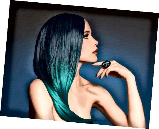 موهای ombre آبی دو رنگ