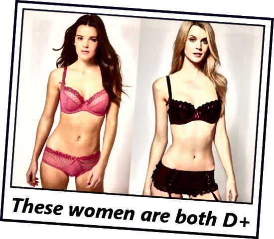 Rozdíly mezi měřeními podprsenky těchto žen (velikost pásu) a měření poprsí jsou asi 5 palců, což je vkládá do šálku DD.