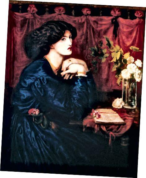 जेन मॉरिस - द डार्क हेयर, स्टॉन्ग फीचर्स और सिंपल कोबाल्ट ब्लू ड्रेस, एस्थेटिक मूवमेंट के विशिष्ट रूप हैं।