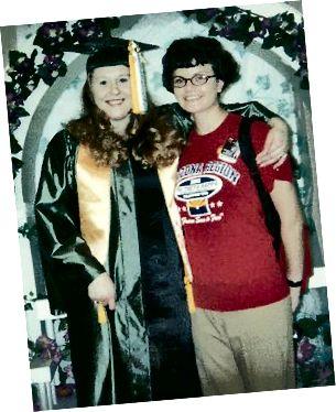 Η φίλη μου Nicole και εγώ στο κολέγιο (και τα κοντά μαλλιά μου), 2003