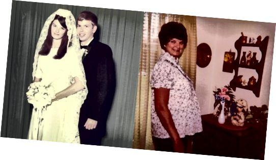 Η μητέρα μου - ημέρα γάμου με μακριά μαλλιά το '68 (L) & έγκυος μαζί μου με κοντά μαλλιά το '83 (R)