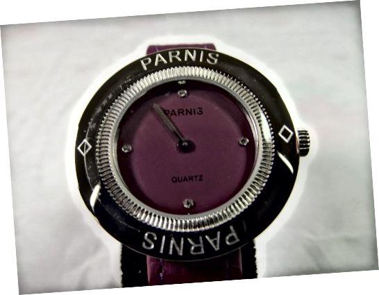 Kwarcowy damski zegarek Parnis Purple 33 mm